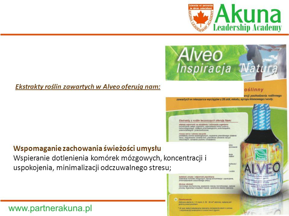 Ekstrakty roślin zawartych w Alveo oferują nam: Wspomaganie zachowania świeżości umysłu Wspieranie dotlenienia komórek mózgowych, koncentracji i uspok