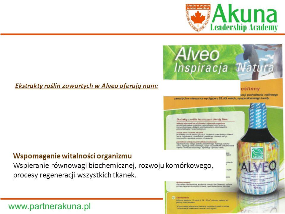 Ekstrakty roślin zawartych w Alveo oferują nam: Wspomaganie witalności organizmu Wspieranie równowagi biochemicznej, rozwoju komórkowego, procesy rege