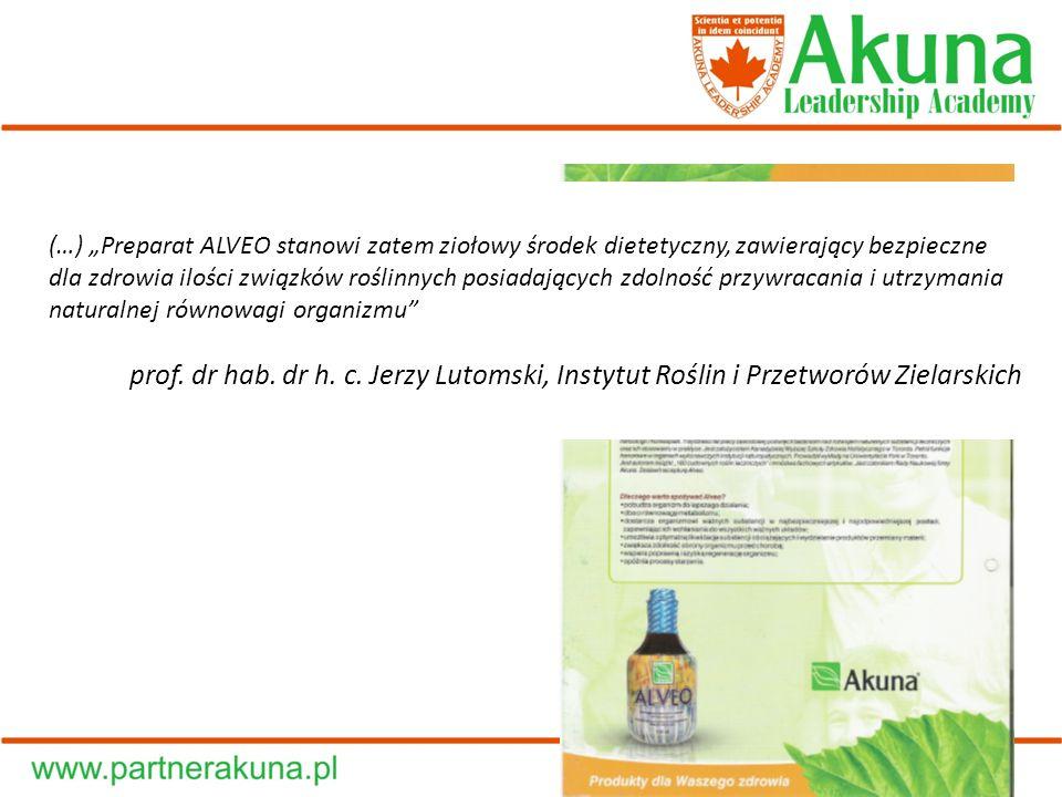 (…) Preparat ALVEO stanowi zatem ziołowy środek dietetyczny, zawierający bezpieczne dla zdrowia ilości związków roślinnych posiadających zdolność przy