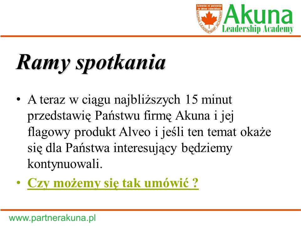 Ramy spotkania A teraz w ciągu najbliższych 15 minut przedstawię Państwu firmę Akuna i jej flagowy produkt Alveo i jeśli ten temat okaże się dla Państ