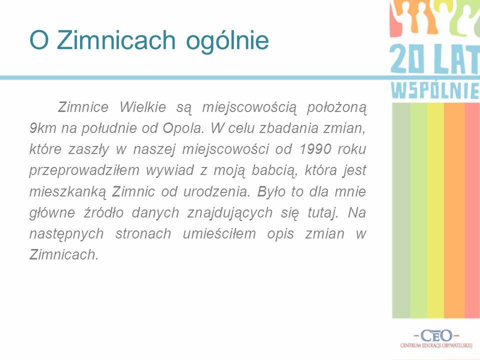 Zimnice Wielkie są miejscowością położoną 9km na południe od Opola. W celu zbadania zmian, które zaszły w naszej miejscowości od 1990 roku przeprowadz