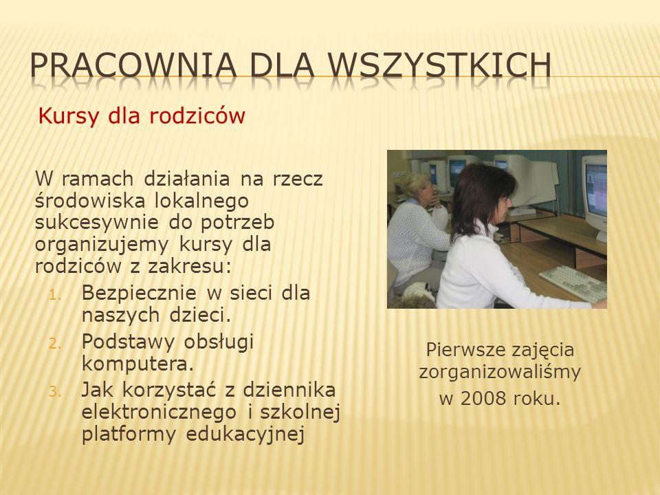 W ramach działania na rzecz środowiska lokalnego sukcesywnie do potrzeb organizujemy kursy dla rodziców z zakresu: 1.
