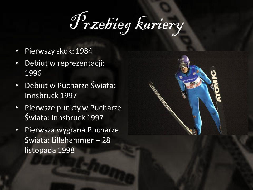 Przebieg kariery Pierwszy skok: 1984 Debiut w reprezentacji: 1996 Debiut w Pucharze Świata: Innsbruck 1997 Pierwsze punkty w Pucharze Świata: Innsbruc