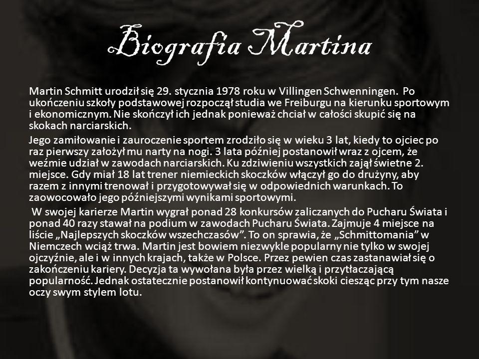 Biografia Martina Martin Schmitt urodził się 29. stycznia 1978 roku w Villingen Schwenningen. Po ukończeniu szkoły podstawowej rozpoczął studia we Fre