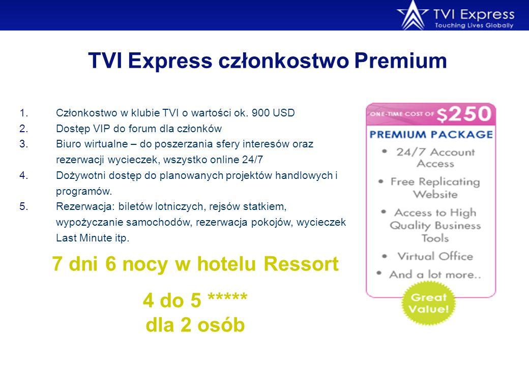 TVI Express członkostwo Premium 1.Członkostwo w klubie TVI o wartości ok. 900 USD 2.Dostęp VIP do forum dla członków 3.Biuro wirtualne – do poszerzani