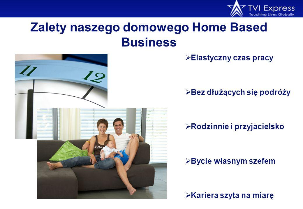 Zalety naszego domowego Home Based Business Elastyczny czas pracy Bez dłużących się podróży Rodzinnie i przyjacielsko Bycie własnym szefem Kariera szy