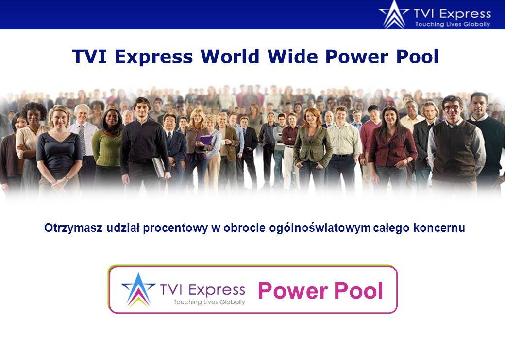 Otrzymasz udział procentowy w obrocie ogólnoświatowym całego koncernu TVI Express World Wide Power Pool Power Pool
