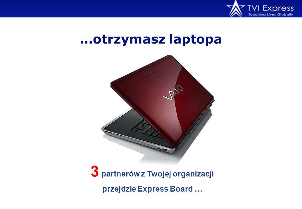 …otrzymasz laptopa 3 partnerów z Twojej organizacji przejdzie Express Board …