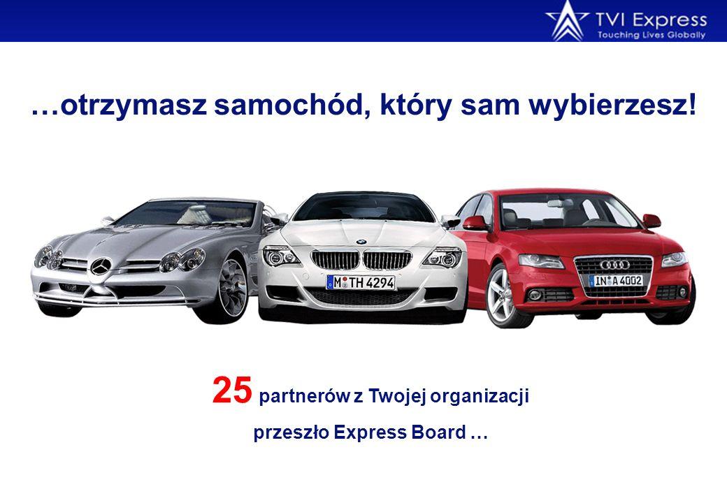 …otrzymasz samochód, który sam wybierzesz! 25 partnerów z Twojej organizacji przeszło Express Board …