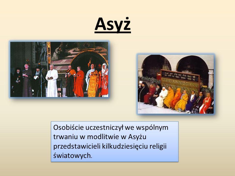 Asyż Osobiście uczestniczył we wspólnym trwaniu w modlitwie w Asyżu przedstawicieli kilkudziesięciu religii światowych. Osobiście uczestniczył we wspó
