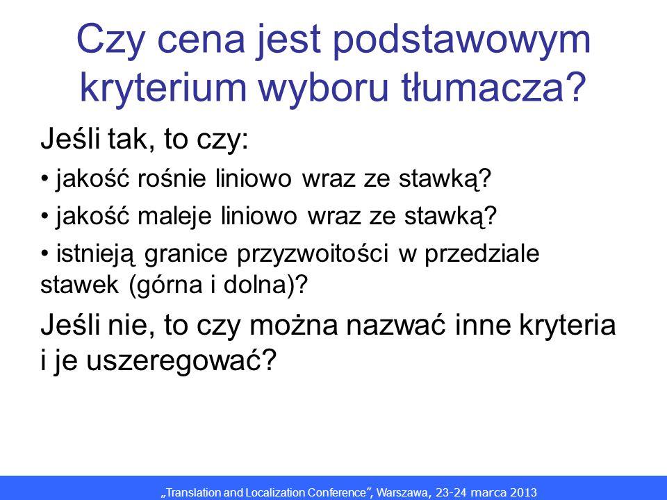 Translation and Localization Conference, Warszawa, 2 3 -2 4 marca 201 3 Czy cena jest podstawowym kryterium wyboru tłumacza? Jeśli tak, to czy: jakość