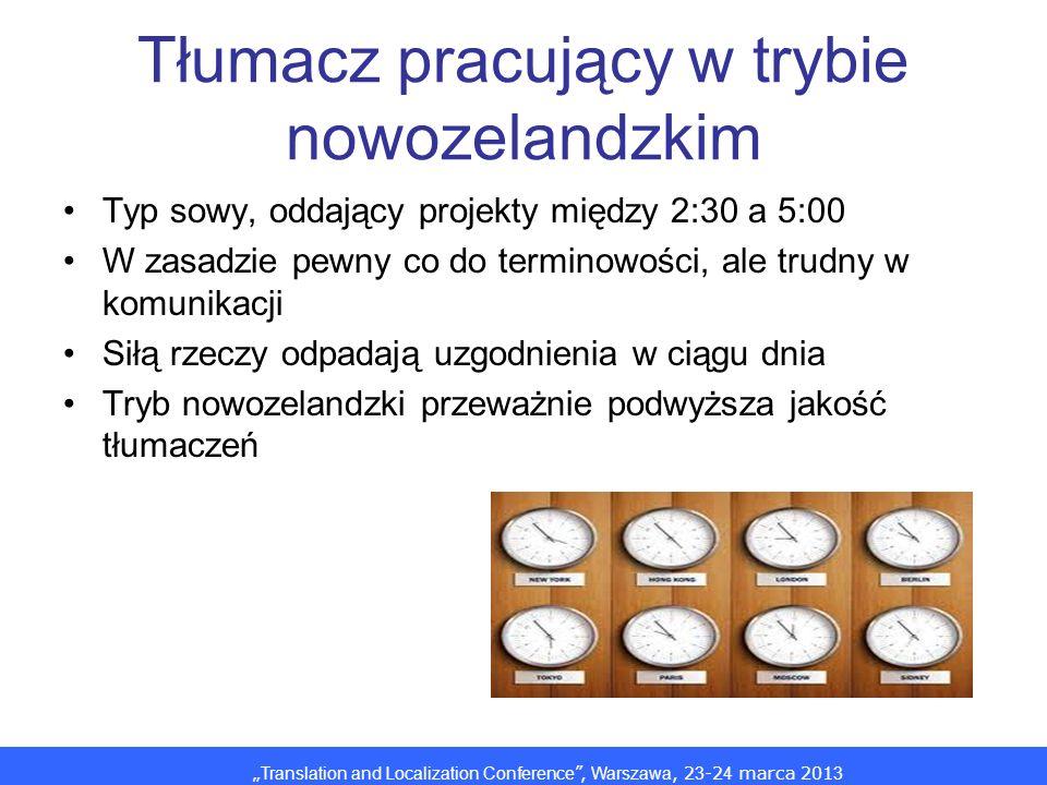 Translation and Localization Conference, Warszawa, 2 3 -2 4 marca 201 3 Tłumacz pracujący w trybie nowozelandzkim Typ sowy, oddający projekty między 2