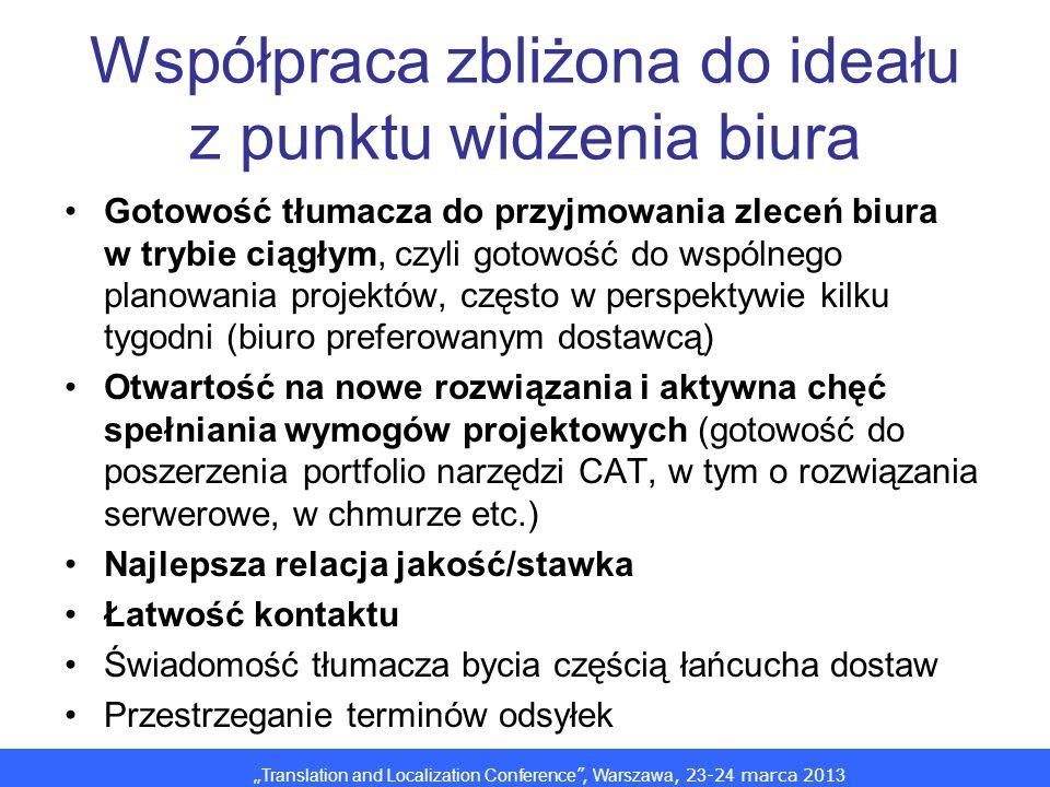 Translation and Localization Conference, Warszawa, 2 3 -2 4 marca 201 3 Współpraca zbliżona do ideału z punktu widzenia biura Gotowość tłumacza do przyjmowania zleceń biura w trybie ciągłym, czyli gotowość do wspólnego planowania projektów, często w perspektywie kilku tygodni (biuro preferowanym dostawcą) Otwartość na nowe rozwiązania i aktywna chęć spełniania wymogów projektowych (gotowość do poszerzenia portfolio narzędzi CAT, w tym o rozwiązania serwerowe, w chmurze etc.) Najlepsza relacja jakość/stawka Łatwość kontaktu Świadomość tłumacza bycia częścią łańcucha dostaw Przestrzeganie terminów odsyłek
