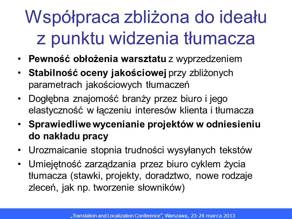 Translation and Localization Conference, Warszawa, 2 3 -2 4 marca 201 3 Współpraca zbliżona do ideału z punktu widzenia tłumacza Pewność obłożenia warsztatu z wyprzedzeniem Stabilność oceny jakościowej przy zbliżonych parametrach jakościowych tłumaczeń Dogłębna znajomość branży przez biuro i jego elastyczność w łączeniu interesów klienta i tłumacza Sprawiedliwe wycenianie projektów w odniesieniu do nakładu pracy Urozmaicanie stopnia trudności wysyłanych tekstów Umiejętność zarządzania przez biuro cyklem życia tłumacza (stawki, projekty, doradztwo, nowe rodzaje zleceń, jak np.