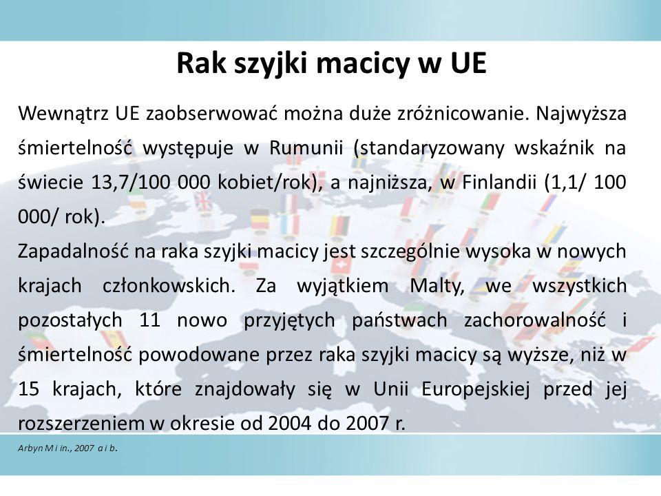Rak szyjki macicy w UE Wewnątrz UE zaobserwować można duże zróżnicowanie.