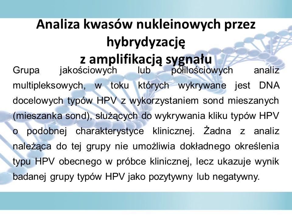 Analiza kwasów nukleinowych przez hybrydyzację z amplifikacją sygnału Grupa jakościowych lub półilościowych analiz multipleksowych, w toku których wykrywane jest DNA docelowych typów HPV z wykorzystaniem sond mieszanych (mieszanka sond), służących do wykrywania kliku typów HPV o podobnej charakterystyce klinicznej.