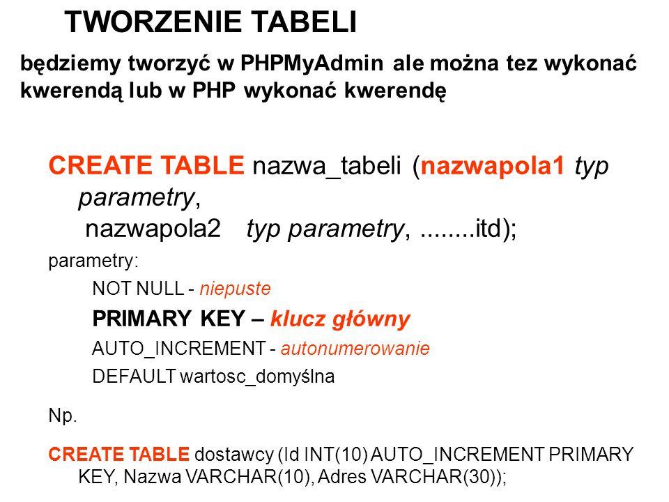 CREATE TABLE nazwa_tabeli (nazwapola1 typ parametry, nazwapola2 typ parametry,........itd); parametry: NOT NULL - niepuste PRIMARY KEY – klucz główny