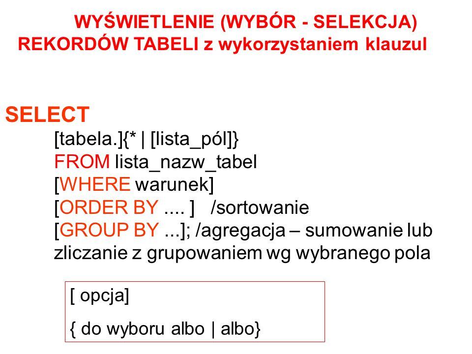 SELECT [tabela.]{* | [lista_pól]} FROM lista_nazw_tabel [WHERE warunek] [ORDER BY.... ] /sortowanie [GROUP BY...]; /agregacja – sumowanie lub zliczani