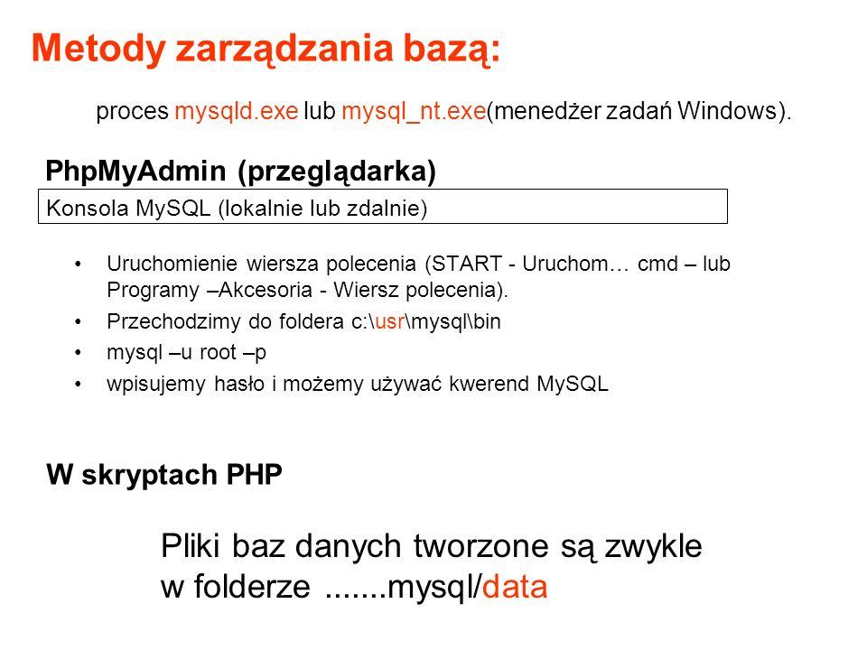 Konsola MySQL (lokalnie lub zdalnie) Uruchomienie wiersza polecenia (START - Uruchom… cmd – lub Programy –Akcesoria - Wiersz polecenia). Przechodzimy