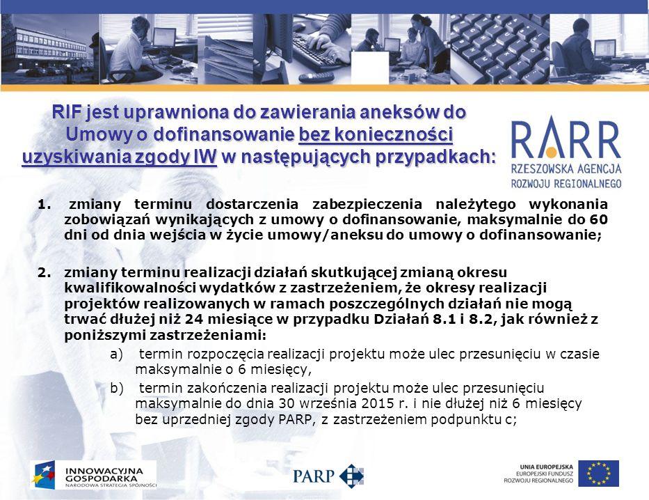 RIF jest uprawniona do zawierania aneksów do Umowy o dofinansowanie bez konieczności uzyskiwania zgody IW w następujących przypadkach (c.d.): c)termin zakończenia realizacji projektu może ulec przesunięciu maksymalnie do dnia 30 września 2015 r.