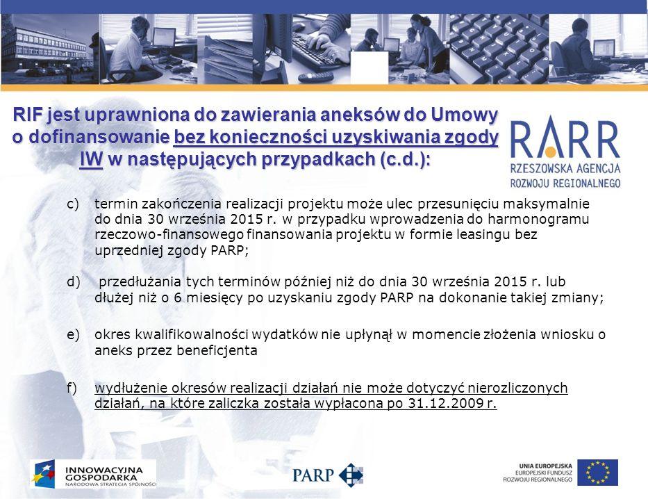 RIF jest uprawniona do zawierania aneksów do Umowy o dofinansowanie bez konieczności uzyskiwania zgody IW w następujących przypadkach (c.d.): c)termin