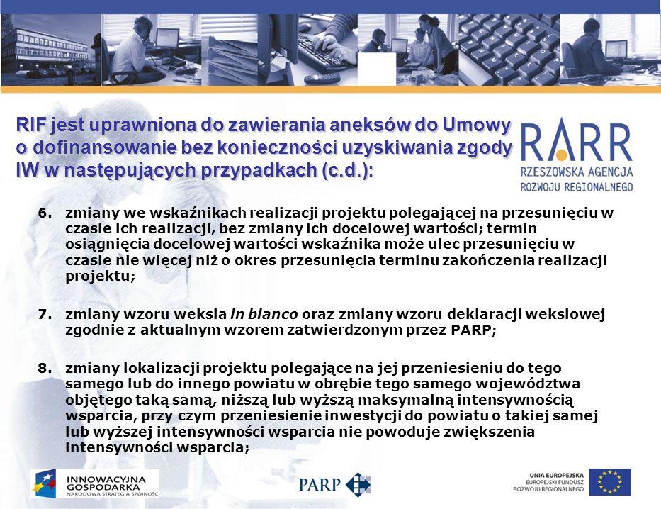RIF jest uprawniona do zawierania aneksów do Umowy o dofinansowanie bez konieczności uzyskiwania zgody IW w następujących przypadkach (c.d.): 9.zmiany nazwy beneficjenta bez zmiany formy prawnej beneficjenta; 10.wprowadzenia zaliczkowego sposobu finansowania projektu; 11.zmian wykraczających poza zakres wskazany w punktach poprzednich, na wprowadzenie których uzyskano zgodę IW; 12.innych zmian (np.