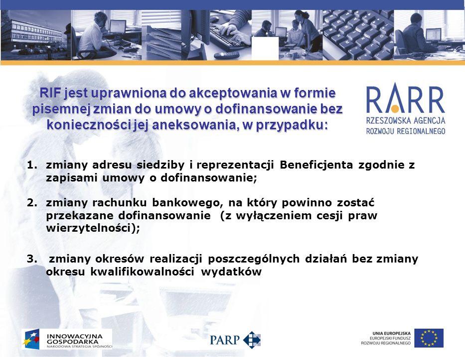 RIF jest uprawniona do akceptowania w formie pisemnej zmian do umowy o dofinansowanie bez konieczności jej aneksowania, w przypadku: 1.zmiany adresu s