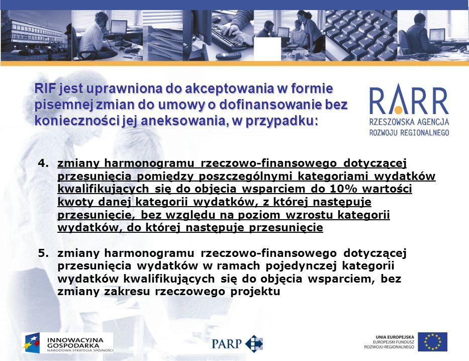 RIF odrzuca wnioski o aneksy do umów o dofinansowanie, jeśli wnioskowane zmiany dotyczą: 1.zmiany okresu kwalifikowalności, jeśli okres realizacji projektów realizowanych w ramach poszczególnych działań trwałby dłużej niż 24 miesiące w przypadku Działań 8.1 i 8.2, 2.przesunięć pomiędzy poszczególnymi kategoriami wydatków kwalifikujących się do objęcia wsparciem wykraczających poza 10% 3.