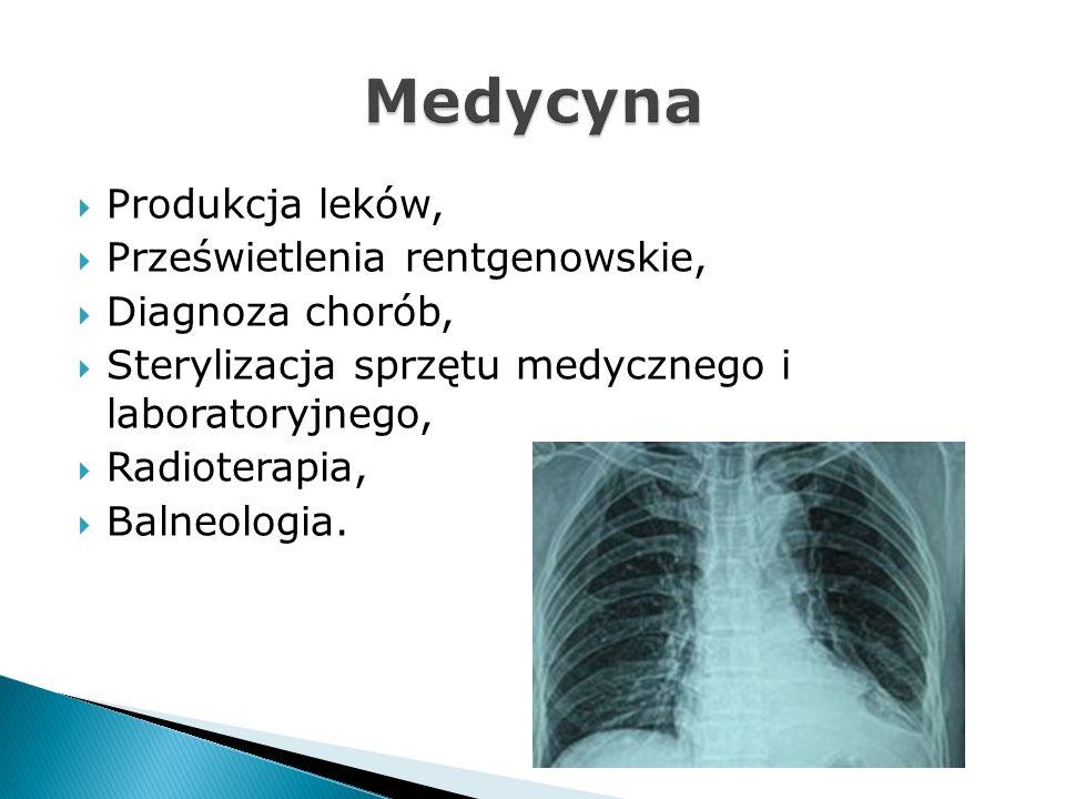 Produkcja leków, Prześwietlenia rentgenowskie, Diagnoza chorób, Sterylizacja sprzętu medycznego i laboratoryjnego, Radioterapia, Balneologia.