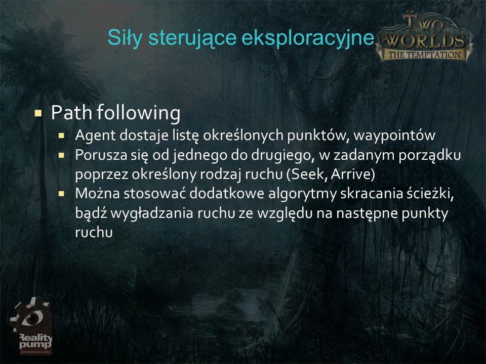 Siły sterujące eksploracyjne Path following Agent dostaje listę określonych punktów, waypointów Porusza się od jednego do drugiego, w zadanym porządku