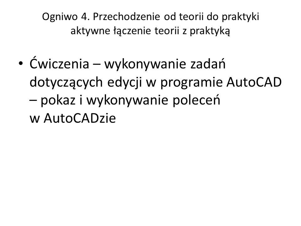 Ogniwo 4. Przechodzenie od teorii do praktyki aktywne łączenie teorii z praktyką Ćwiczenia – wykonywanie zadań dotyczących edycji w programie AutoCAD