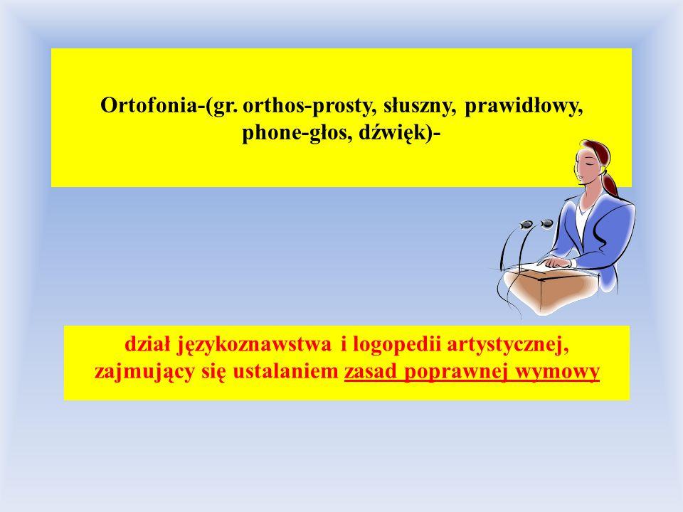 Ortofonia-(gr. orthos-prosty, słuszny, prawidłowy, phone-głos, dźwięk)- dział językoznawstwa i logopedii artystycznej, zajmujący się ustalaniem zasad