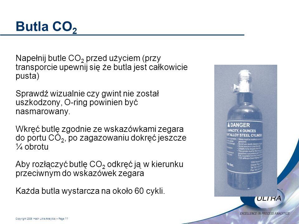 Copyright 2006 Hach Ultra Analytics – Page 11 Butla CO 2 Napełnij butle CO 2 przed użyciem (przy transporcie upewnij się że butla jest całkowicie pust