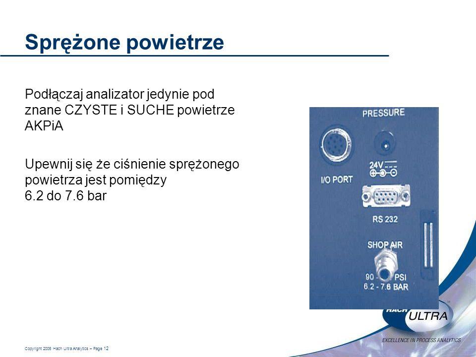 Copyright 2006 Hach Ultra Analytics – Page 12 Sprężone powietrze Podłączaj analizator jedynie pod znane CZYSTE i SUCHE powietrze AKPiA Upewnij się że