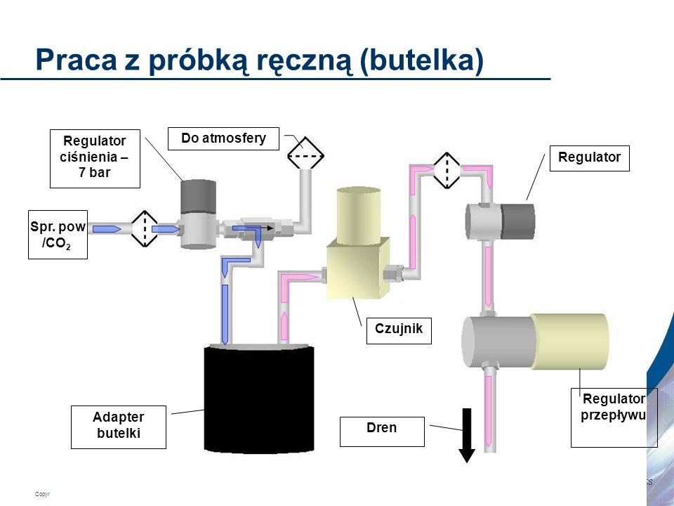 Copyright 2006 Hach Ultra Analytics – Page 13 Praca z próbką ręczną (butelka) Adapter butelki Regulator ciśnienia – 7 bar Czujnik Regulator Regulator