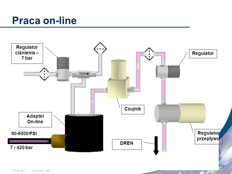 Copyright 2006 Hach Ultra Analytics – Page 14 Praca on-line Adapter On-line Regulator ciśnienia – 7 bar Czujnik Regulator Regulator przepływu 7 - 420