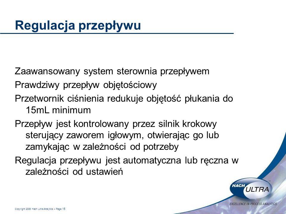 Copyright 2006 Hach Ultra Analytics – Page 15 Regulacja przepływu Zaawansowany system sterownia przepływem Prawdziwy przepływ objętościowy Przetwornik