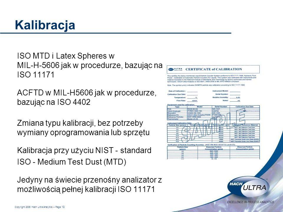 Copyright 2006 Hach Ultra Analytics – Page 18 Kalibracja ISO MTD i Latex Spheres w MIL-H-5606 jak w procedurze, bazując na ISO 11171 ACFTD w MIL-H5606