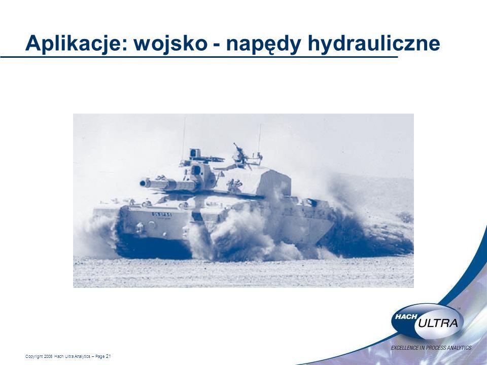 Copyright 2006 Hach Ultra Analytics – Page 21 Aplikacje: wojsko - napędy hydrauliczne