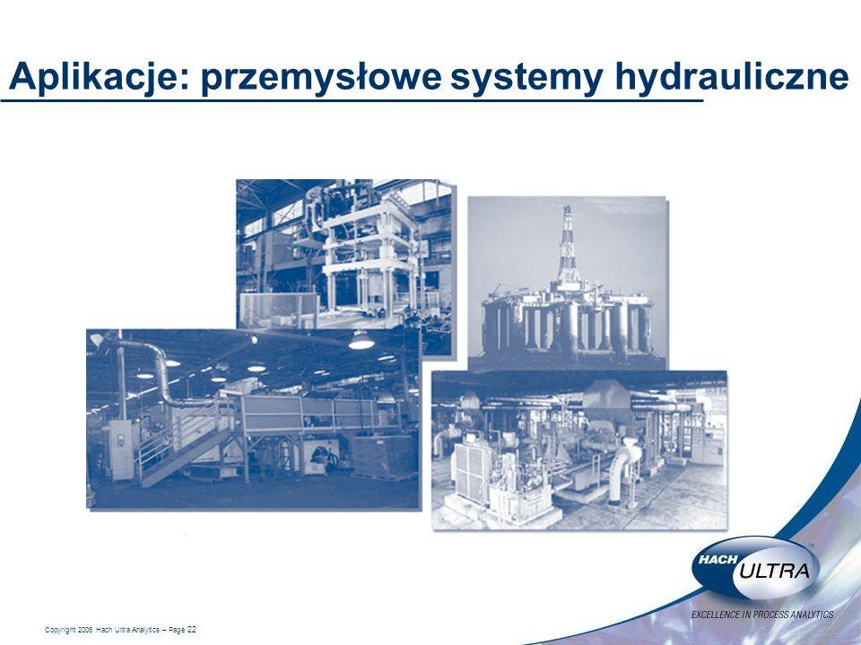 Copyright 2006 Hach Ultra Analytics – Page 22 Aplikacje: przemysłowe systemy hydrauliczne