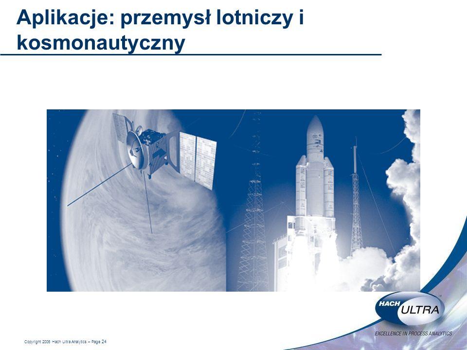 Copyright 2006 Hach Ultra Analytics – Page 24 Aplikacje: przemysł lotniczy i kosmonautyczny