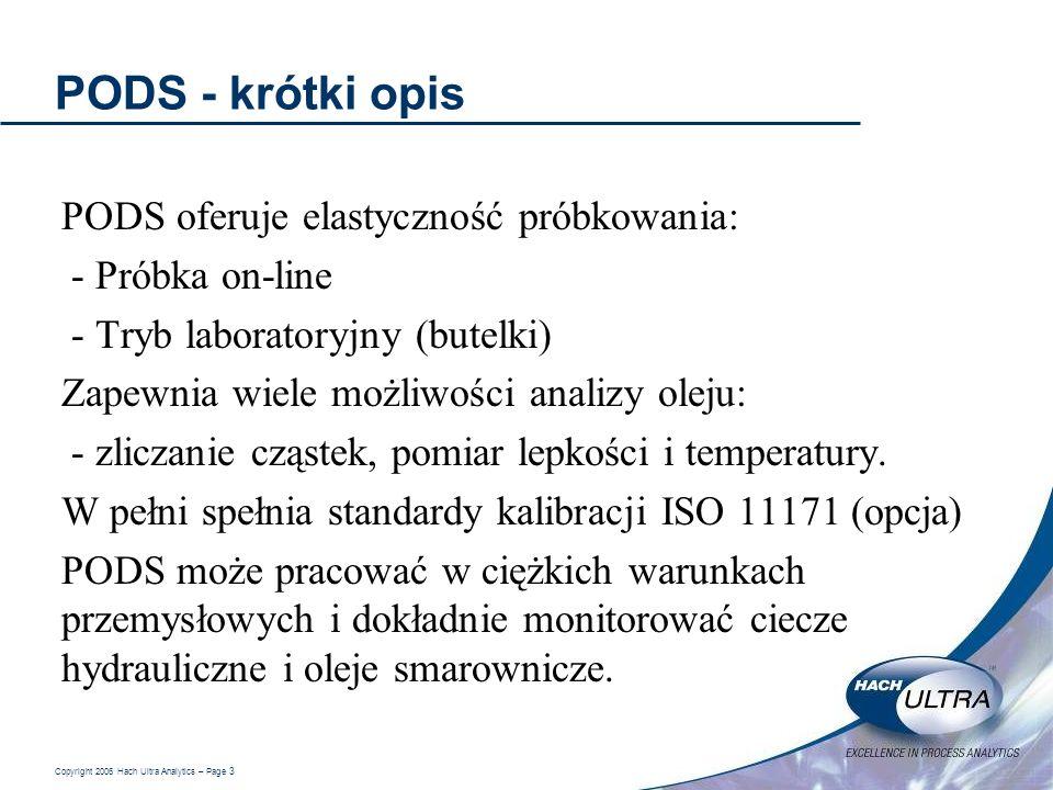 Copyright 2006 Hach Ultra Analytics – Page 3 PODS - krótki opis PODS oferuje elastyczność próbkowania: - Próbka on-line - Tryb laboratoryjny (butelki)
