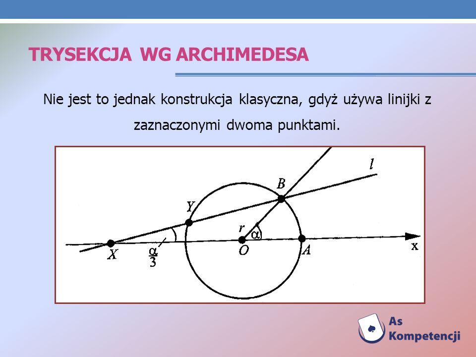 TRYSEKCJA WG ARCHIMEDESA Nie jest to jednak konstrukcja klasyczna, gdyż używa linijki z zaznaczonymi dwoma punktami.
