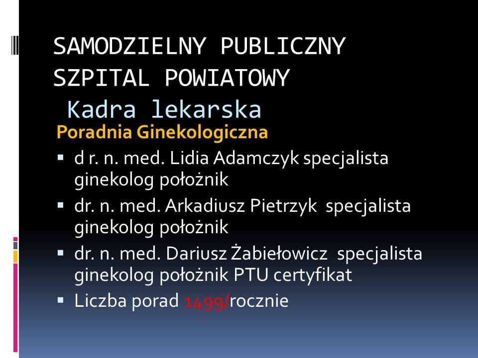 SAMODZIELNY PUBLICZNY SZPITAL POWIATOWY Kadra lekarska Poradnia Ginekologiczna d r. n. med. Lidia Adamczyk specjalista ginekolog położnik dr. n. med.