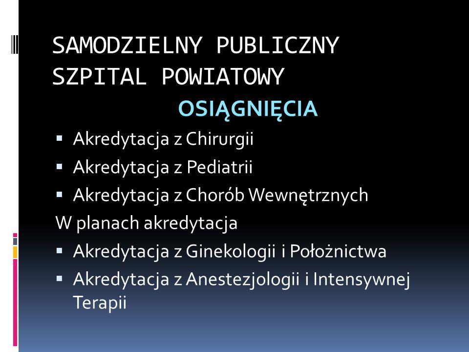 SAMODZIELNY PUBLICZNY SZPITAL POWIATOWY OSIĄGNIĘCIA Akredytacja z Chirurgii Akredytacja z Pediatrii Akredytacja z Chorób Wewnętrznych W planach akredy