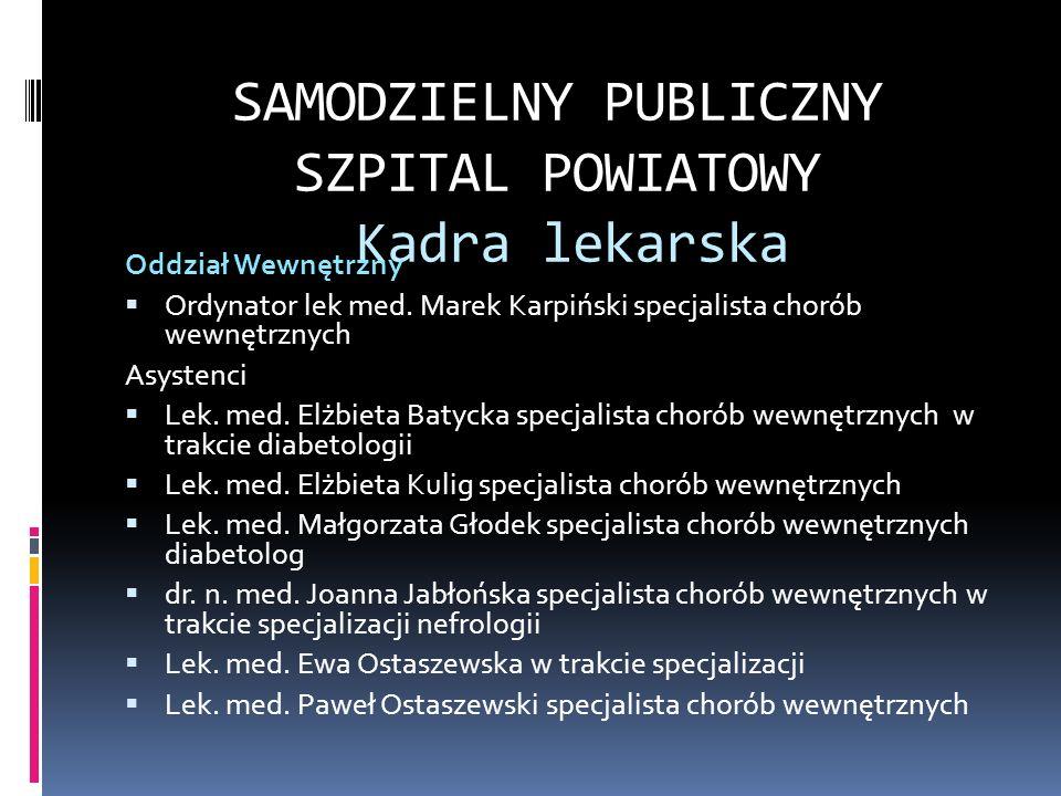 SAMODZIELNY PUBLICZNY SZPITAL POWIATOWY Kadra lekarska Oddział Intensywnej Terapii i Anestezjologii Ordynator lek med.