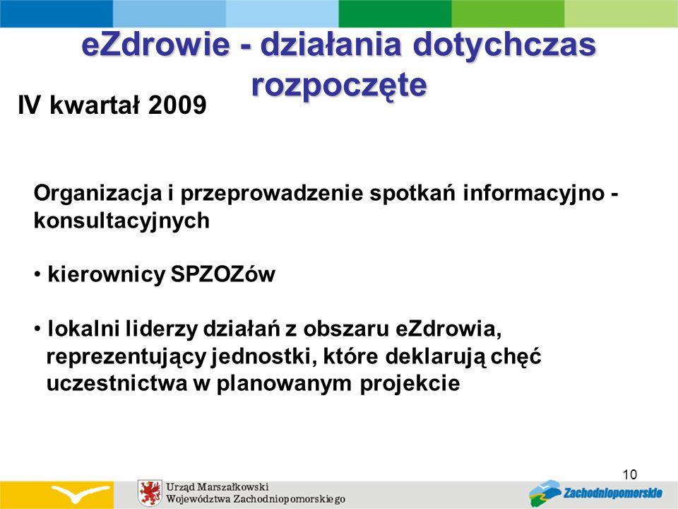 IV kwartał 2009 10 eZdrowie - działania dotychczas rozpoczęte Organizacja i przeprowadzenie spotkań informacyjno - konsultacyjnych kierownicy SPZOZów