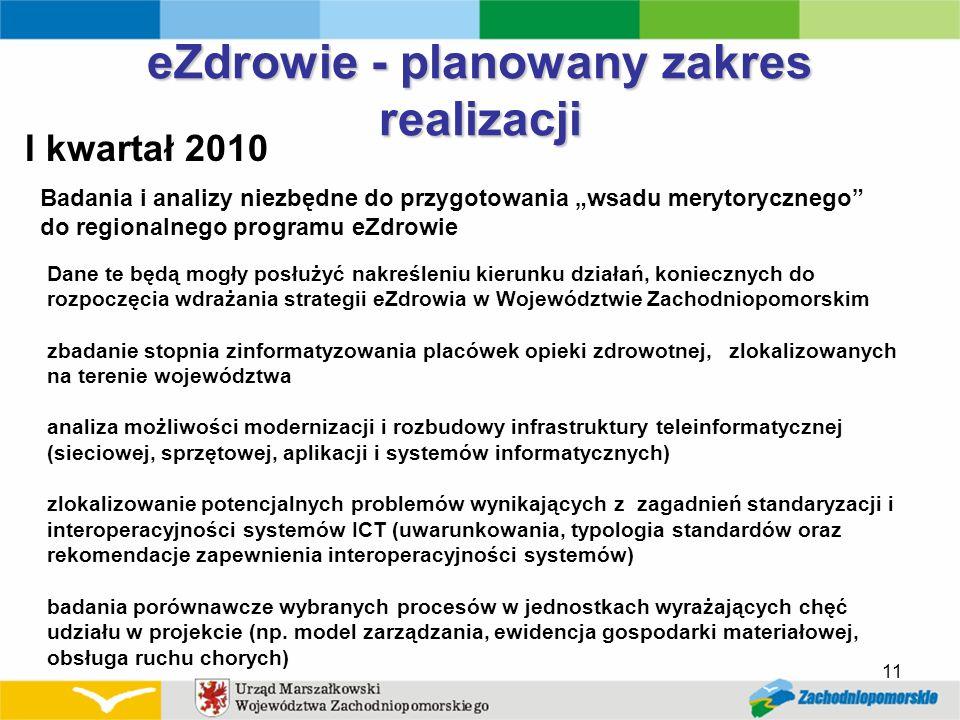 11 eZdrowie - planowany zakres realizacji I kwartał 2010 Badania i analizy niezbędne do przygotowania wsadu merytorycznego do regionalnego programu eZ