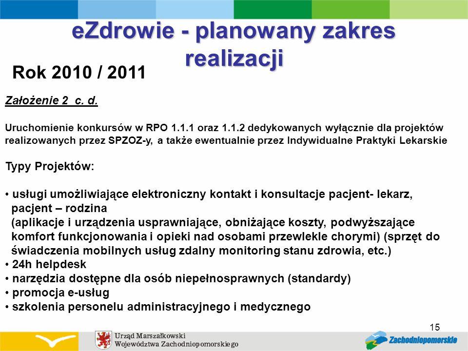 eZdrowie - planowany zakres realizacji Rok 2010 / 2011 Założenie 2 c. d. Uruchomienie konkursów w RPO 1.1.1 oraz 1.1.2 dedykowanych wyłącznie dla proj