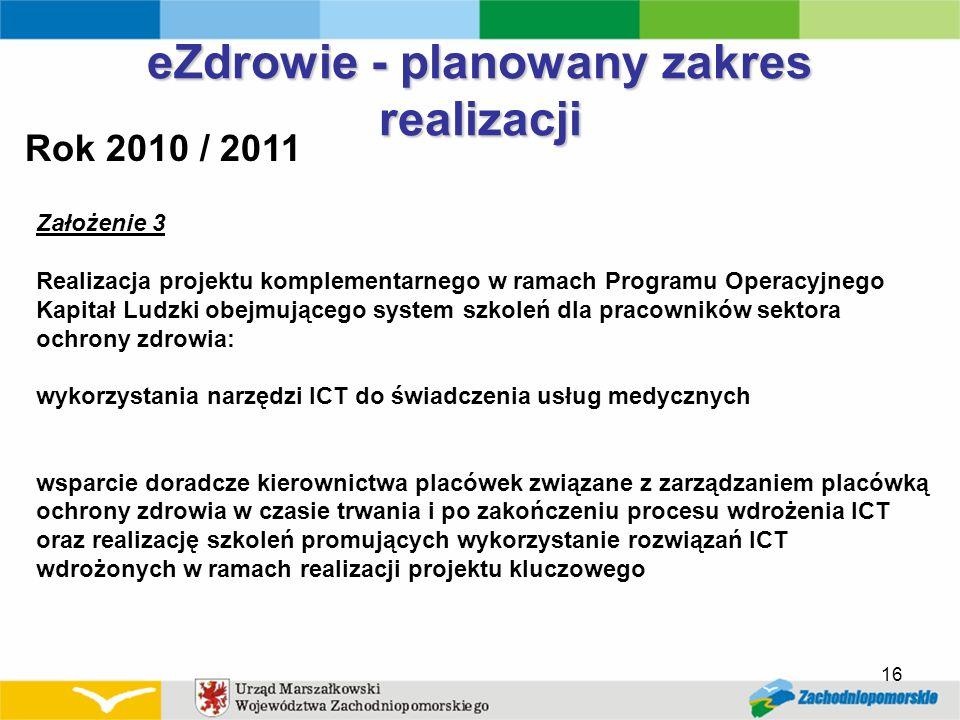 eZdrowie - planowany zakres realizacji Rok 2010 / 2011 Założenie 3 Realizacja projektu komplementarnego w ramach Programu Operacyjnego Kapitał Ludzki
